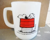 Mid century Snoopy coffee mug allergic to morning office cup humor milk glass black red white