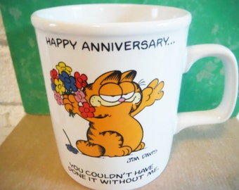 Garfield coffee mug happy anniversary love marriage cat lover vintage