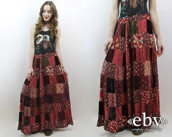 90s Grunge Skirt Patchwork Skirt Floral Skirt Patchwork Maxi Skirt Hippie Skirt Hippy Skirt Festival Skirt Vintage Velvet Maxi Skirt M L XL
