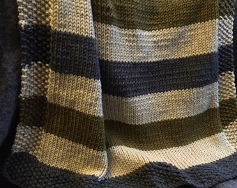 Olive green, cream, and grey striped baby blanket