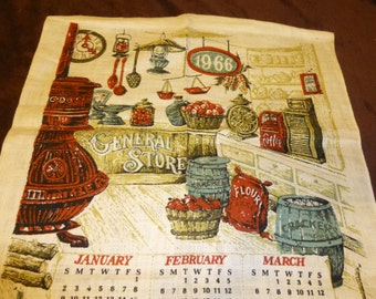 1966 Calendar Towel Vintage Linen Old Fashioned General Store Theme