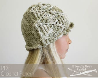 Crochet Pattern: The Forager Cloche Sizes Toddler Child Adult cables leaf beanie spring botanical tutorial