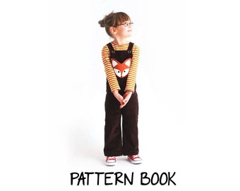 Pattern book - Fox dungarees pattern overalls childrens outfits sewing patterns cute kids sweater unisex clothing easy instructions clothes