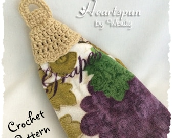 CROCHET PATTERN to make a knob ruffle skirt towel ring for hand or dish towels, attaches to a drawer or cupboard knob. Instant Download