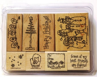 """Stampin Up """" Flaky Friends""""  wood mount stamp set"""