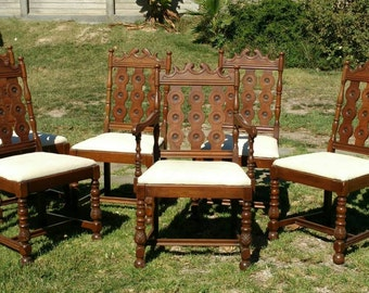 Antique Dining Chairs Carved 1930 Vintage Kitchen Chairs