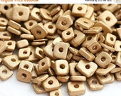 ON SALE Golden Greek ceramic chip beads - gold colored tiny spacers, 5mm, square, triangle, washer - approx.70pc - 0822
