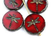4pc Dark Red Dragonfly beads, Picasso finish, red czech glass table cut beads - 17mm - 0282