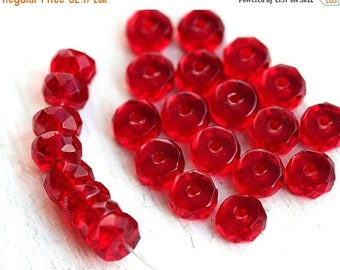 ON SALE Red Rondelle beads, fire polished czech glass spacers - 6x3mm - 25Pc - 1338