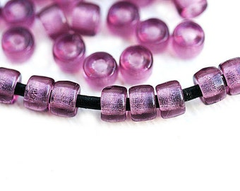 50pc Pony beads, Purple Czech glass Roller beads, 2mm large hole, round spacer beads - 6mm - 2875