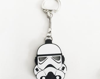 Inspired Stormtrooper Keychain. Two colors.  White on black. FREE SHIPPING, Original Delukart Design.