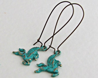 Pegasus Earrings .. horse earrings, winged horse, mythical, verdigris earrings