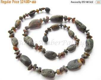 17%OFF--CHRISTMAS SALE Raw Unpolished Black Color Baltic Amber Necklace. For Adults