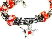 RESERVED Listing for Sandy ~ Texas Longhorns Bracelet