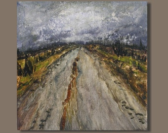 abstract painting, nocturn, impressionist painting, small painting, road painting, earthtones, 10x10, country road, modern art
