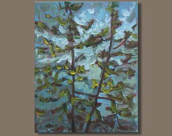 semi abstract painting, trees, treepainting, landscape painting, impressionist painting, mini painting on canvas, gestural, east coast