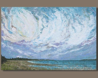 FREE SHIP large landscape painting, abstract painting, seascape painting, tidal pool, clouds, beach painting, nova scotia, lavender, mauve