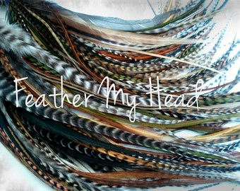 "Feather Hair Extensions - Do It Yourself (DIY) Kit - 16 Pc Thin Feathers - Medium Long 7"" -9"" (18-23cm) Browns Greens Golds - Wild Thing"