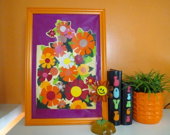 Vintage 1960s Retro Groovy Flower Power Psychedelic MOD Hippie Painting Wall Art