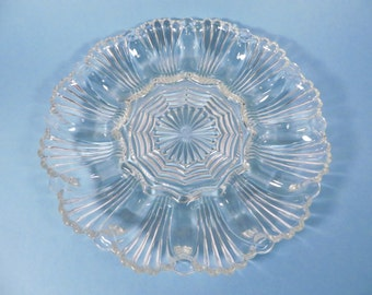Vintage Deviled Egg Platter - Pressed Glass Relish Deviled Egg Plate