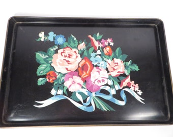 Vintage Paint By Number Tole Tray - Mid Century Flower Bouquet PBN Tole Tray