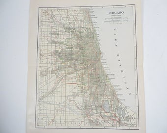 Antique 1926 Chicago City Map - 1920's Chicago Map