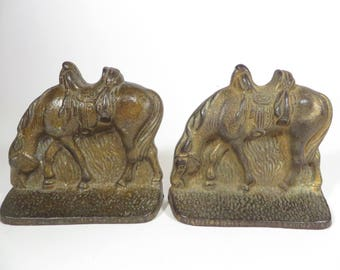 Vintage Bronze Horse Bookends -  Bronze Horse Bookends