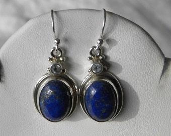 "Blue Lapis Earrings Handmade Lapis Lazuli Earrings Semiprecious Gemstone 1 1/4"" Sterling Silver Earrings Take 20% Off Lapis Lazuli Jewelry"