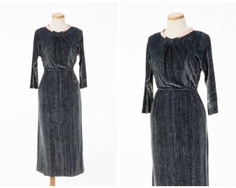 Vintage Lurex Dress // Chic 1950s Chromespun Cocktail Dress Pink Satin Trim Small Medium
