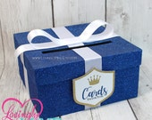 Card Box in Glitter Royal Blue, White & Gold with Matching Prince Shield Tag - Baby Shower, Wedding, Bridal Shower, Birthday, Bar Mitzvah