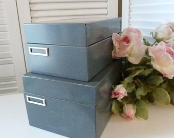 Industrial Card Files Metal Vintage Index card files Set of 2 Gray Hinged Lid 60s Office Coordinating File Boxes Storage