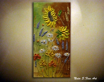 Wildflower Original Abstract Painting Modern Textured Artwork Sunflower Daisy Palette Knife Impasto Colorful Art Home Wall Decor by Nata S.