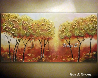 "Autumn Tree Painting, Landscape Art, Textured Tree Painting, Palette Knife, Living Room Decor, Large Artwork 24"" x 48"" Ready to Ship by Nata"