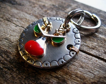 Holiday Pet Id Tag - Unique Pet Tag - Dog Id Tag - Cat Id Tag - Christmas Pet Tag - Reindeer Charm - Wire Wrapped - Nickel Silver Pet Tag