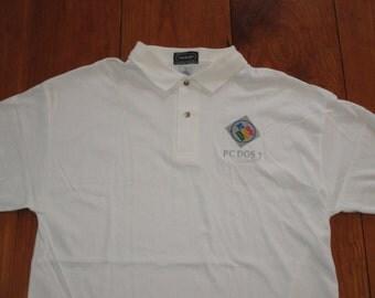 Rare NOS Vintage 1990s Microsoft MS Dos IBM Polo Shirt