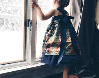 Flower Girl Dress Navy Chinoiserie and Tulle Girls Lux Fawn Dress