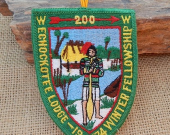 Authentic Echockotee Lodge 200 Boy Scout Patch 1974  ~  Boy Scout Patch  ~  Echockotee Lodge 200 Winter Fellowship 1974  ~  Florida Scouts