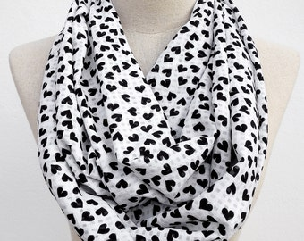 Black and White Mini Heart Loop Infinity Circle Scarf, Heart Scarf
