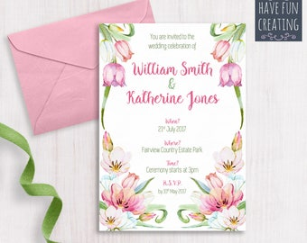 Wedding Invitation: Spring Flowers - Print at home