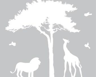 wall decals - Tree decal - Lion - Giraffe - African tree - vinyl wall decal - Nursery decals - children decal -  Africa tree