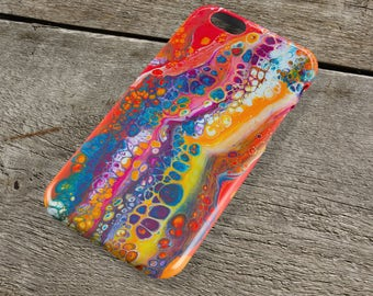 Colourful Abstract iPhone Case - Red Purple Pink Blue & Yellow Fluid Art iPhone Case for iP4, iP5/S/SE, iP5C, iP6/S, iP6+/S, iPod Touch 5
