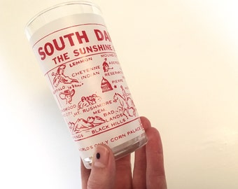 Vintage Souvenir Drinking Glass - South Dakota - Floyd Jones Vintage