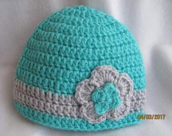 Infant Crochet Flower Beanie