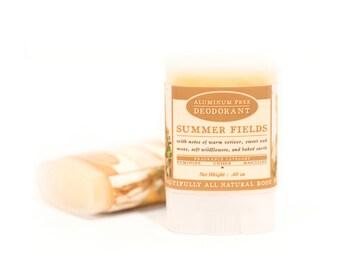 SUMMER SALE - Summer Fields Travel Size Deodorant - All Natural & Aluminum Free Deodorant - Wildflowers, Baked Earth, Sweet Oak, Vetiver