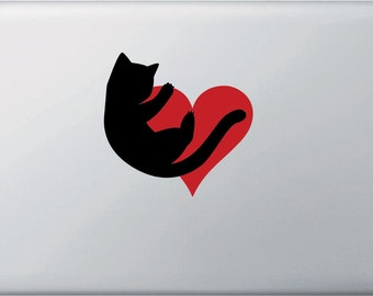 """CLR:MB - Cat Hugging Heart - Vinyl Decal for Laptop Macbook - © 2016 YYDCo. (4.5""""w x 4.5""""h) (Color Choices)"""