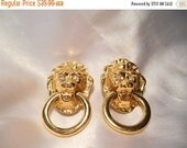 50% OFF SALE Kenneth Jay Lane KJL for Avon Society Collection Lion Head Door Knocker Gold Clip Style Earrings