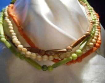 Four Strand Plastic Beaded Long Boho Necklace