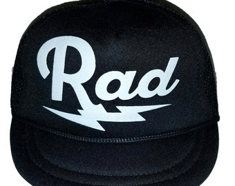 Rad Radical Lightning Bolt Black Baby Sized Mesh Trucker Hat Cap Newborn