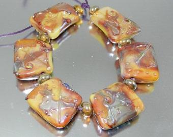 Silver Caramel Cleo Lampwork Bead Set