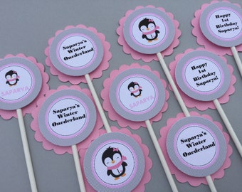 Blushing Penguin Winter Onederland Winter Wonderland Birthday Cupcake Toppers Pink and Grey